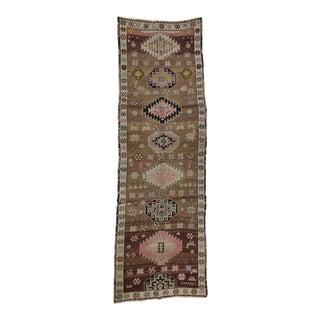 1960's Vintage Turkish Kars Traditional Brown Wool Rug- 4′7″ × 14′