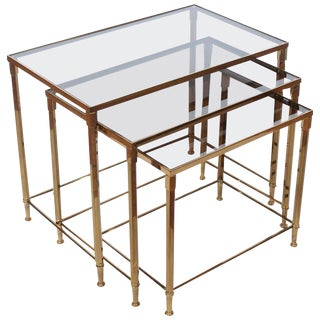 Midcentury French Brass Nesting Tables