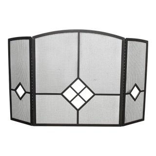Vintage Spanish Style Black Metal Fireplace Screen W Glass Diamond Glass Accents For Sale