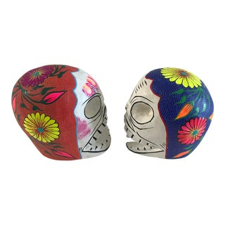 Mexican Folk Art Day of the Dead Skulls - a Pair For Sale