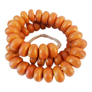 African Simulated Amber 49 Trade Beads For Sale