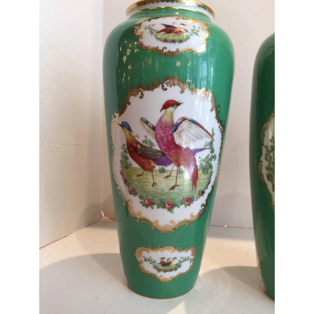 Green 19th Century Victorian Porcelain Chelsea Bird Pattern Vases - a Pair For Sale - Image 8 of 9