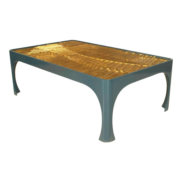 1970s American Inset Gilt Resin and Lacquered Wood Coffee Table For Sale