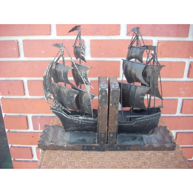 Metal Sailing Ship Bookends - A Pair - Image 2 of 4