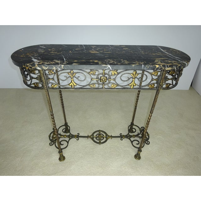 Antique Oval Marble Console with Mirror - Image 6 of 11