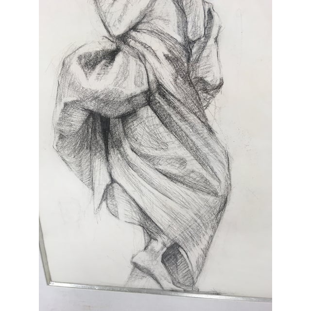 Art Nouveau Academy Style Woman in Classical Dress Pencil Drawing For Sale - Image 3 of 11