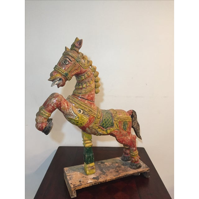 Indian Painted Wood Horse - Image 3 of 11