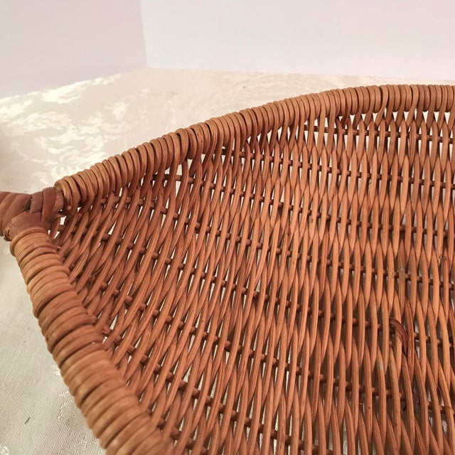 Wicker Vintage Handled Woven Basket For Sale - Image 7 of 9