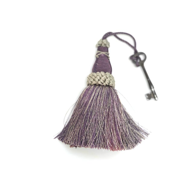 English Key Tassel in Amethyst and Gray With Ruche Trim For Sale - Image 3 of 11