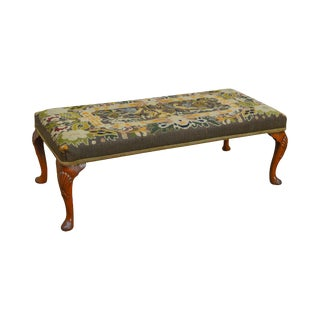 Queen Anne Antique Mahogany Needlepoint Bench Footstool