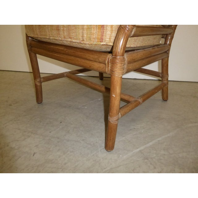 Vintage Mid Century Modern McGuire Tan Stripped Bamboo Rattan Accent Chair For Sale - Image 11 of 12