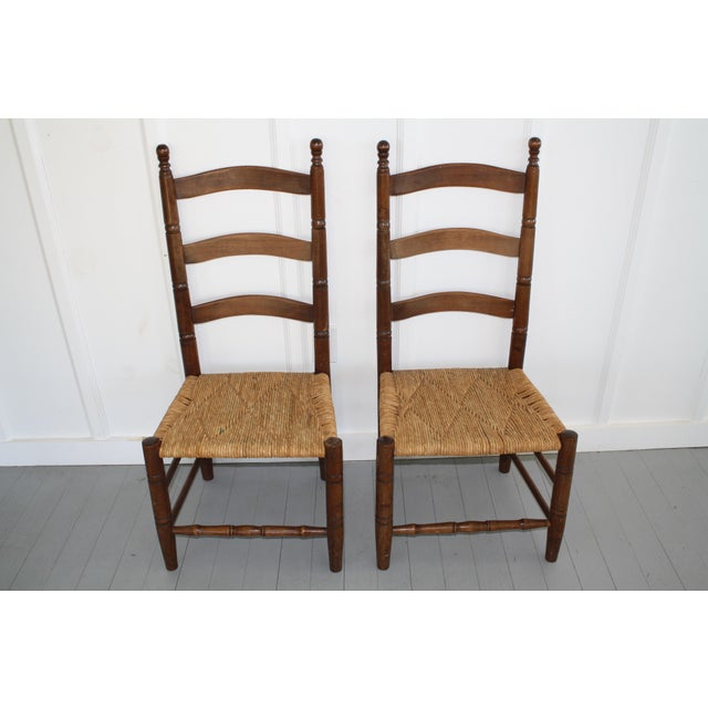 Antique Rush Seat Chairs - A Pair - Image 2 of 11