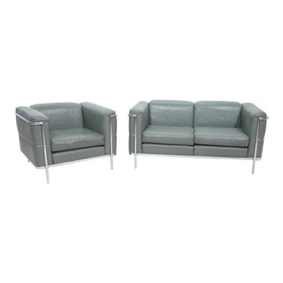 Mid-Century Modern Chrome and Teal Leather Love Seat and Club Chair - 2 Pieces