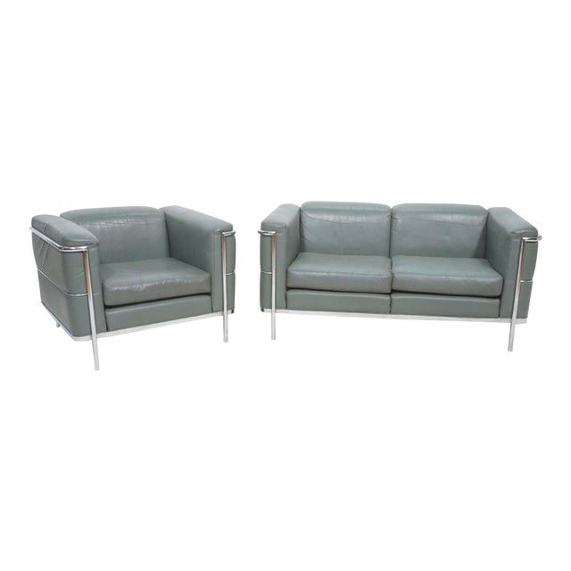 Mid-Century Modern Chrome and Teal Leather Love Seat and Club Chair - 2 Pieces For Sale