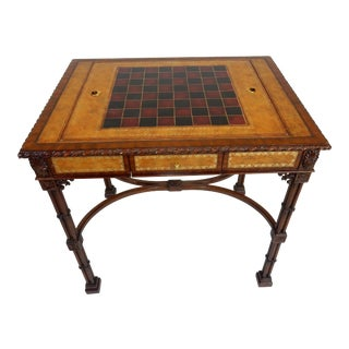 Intricately Carved Mahogany and Inlaid Game Table by Maitland Smith