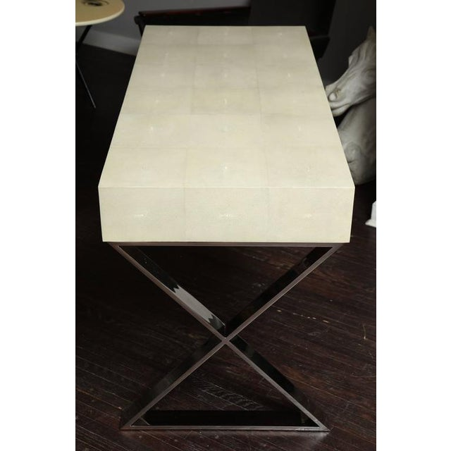 Silver Genuine Shagreen Desk with Polished Chrome X-Band Base For Sale - Image 8 of 10