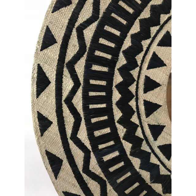 Tribal Chic Round Grasscloth Mirror For Sale - Image 4 of 6