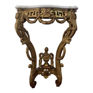 19th Louis XV Giltwood Hight Console Table With Carrara Marble Top For Sale