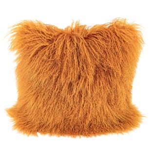 Orange Mongolian Sheepskin & Suede Pillow by Tasha Tarno For Sale