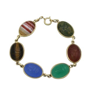 Vintage 14k Gold Large Carved Scarab Bracelet For Sale