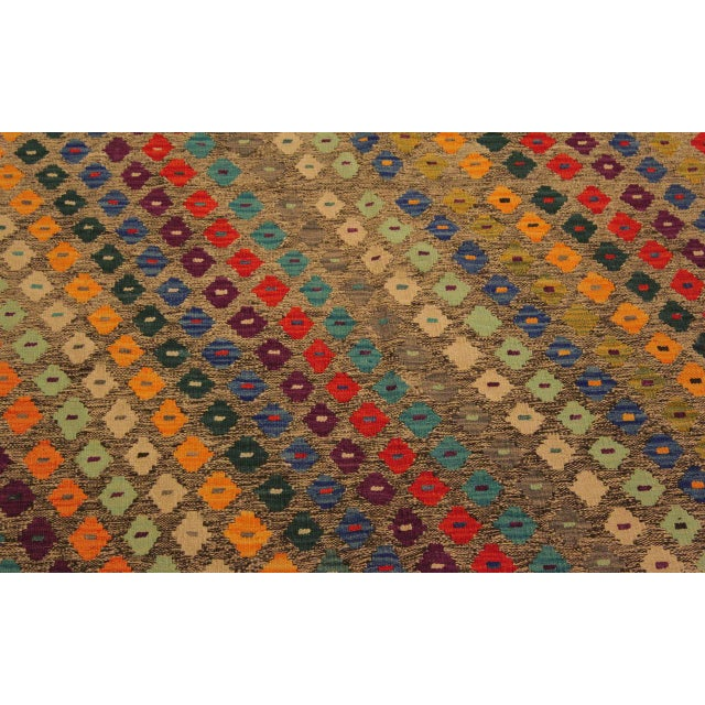 Textile Abstract Southwestern Tribal Manuel Gray/Blue Hand-Woven Kilim Wool Rug -5'0 X 6'8 For Sale - Image 7 of 8