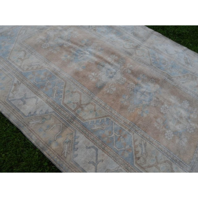 Boho Chic Distressed Oushak Hand Knotted Rug - 5′2″ × 8′4″ For Sale - Image 3 of 9
