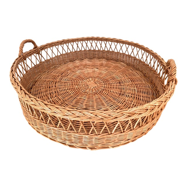 Large Wicker Tray Basket For Sale