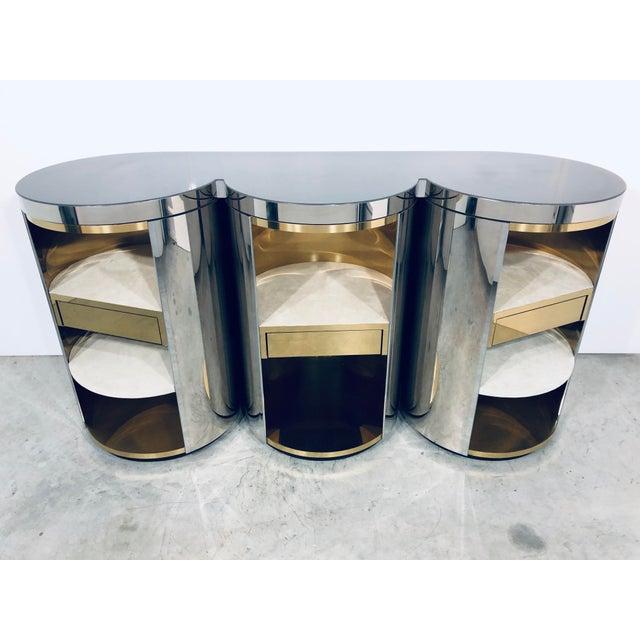 Paul Evans Mirror Polished Steel Cylinder Sideboard For Sale - Image 9 of 13