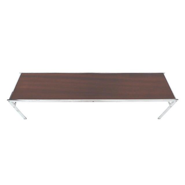 Modern Walnut & Chrome Low Coffee Table - Image 2 of 7