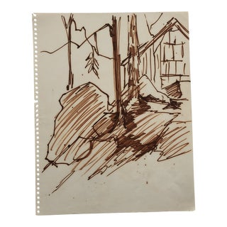 Vintage Mountain Drawing 1966 For Sale