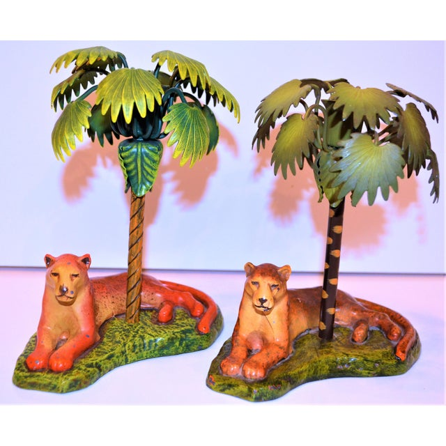 Metal Vintage Art Deco Metal Leopard and Palm Tree Candleholders - a Pair - a Pair For Sale - Image 7 of 7