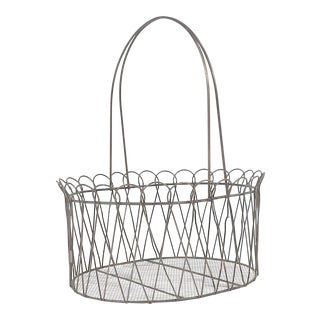 Rustic Country Farmhouse Wire Basket For Sale