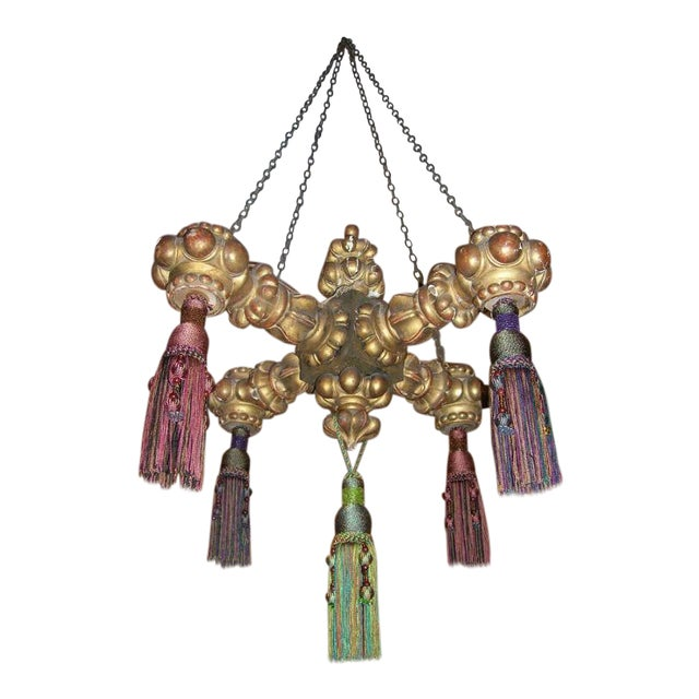 19th Century Giltwood Chandelier with Tassels For Sale