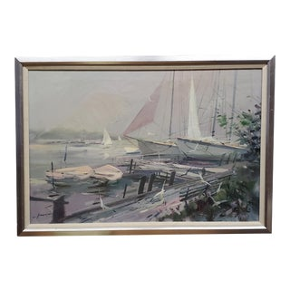 1970s Nautical Seascape Oil Painting, Framed For Sale