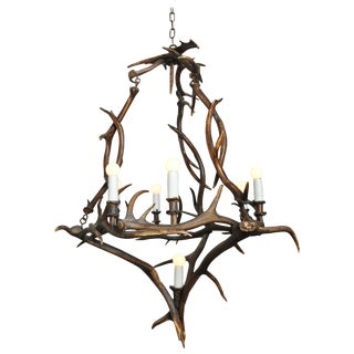 18th Century Bavarian Antler Chandelier Found in Germany For Sale