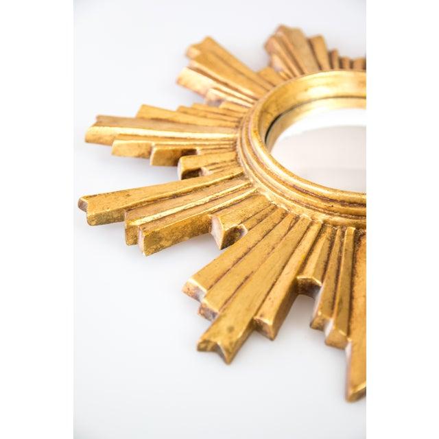 Boho Chic Mid Century French Giltwood Convex Sunburst Mirror For Sale - Image 3 of 7