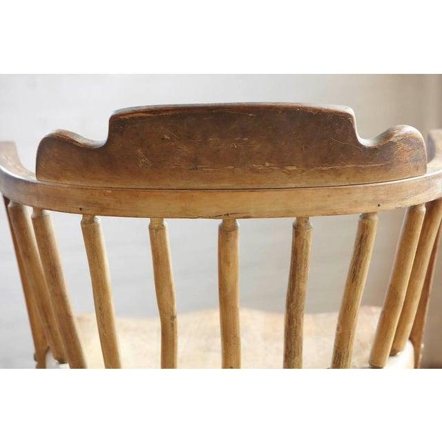 Antique Oak Barrel Chair - Image 8 of 9 - Superb Antique Oak Barrel Chair DECASO
