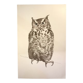Vintage Owl Silk Screen Print by Lurelle Cheverie For Sale