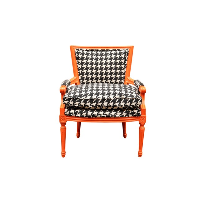Curated Traditional French lounge chair with new houndstooth upholstery Stunning Curated Traditional French lounge chair...