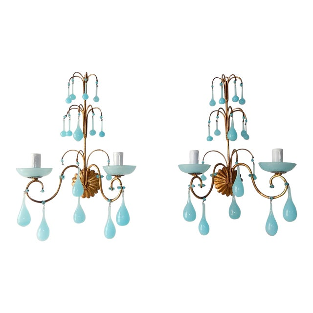 1920s French Blue Opaline Bobeches Drops & Beads Sconces - a Pair For Sale