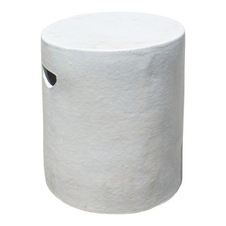 Chinese Ceramic Clay Off White Glaze Round Flat Column Garden Stool For Sale