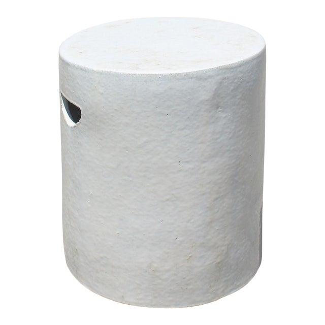 Chinese Ceramic Clay Off White Glaze Round Flat Column Garden Stool For Sale