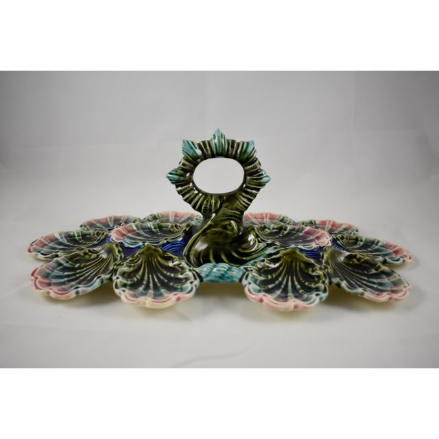 French Provincial Longchamp French Barbotine Majolica Handled Oyster Server For Sale - Image 3 of 11