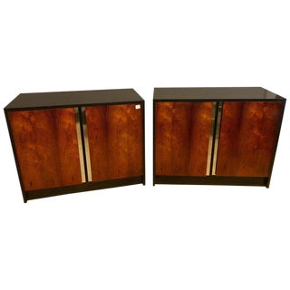Pair of Ebony & Rosewood Commodes or Nightstands With Chrome Trim Baughman Look For Sale