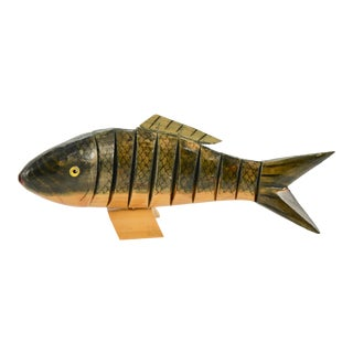 Vintage 1970s Carved Reticulated Wood Fish For Sale