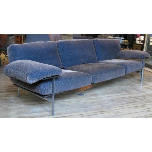 Blue 1990s Vintage Antonio Citterio for B&b Italia Velvet Diesis Sofa For Sale - Image 8 of 8