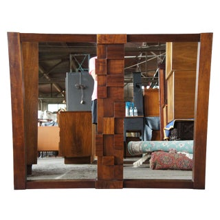1973 Vintage Lane Paul Evans Brutalist Walnut Two Panel Mirror for Triple Dresser For Sale