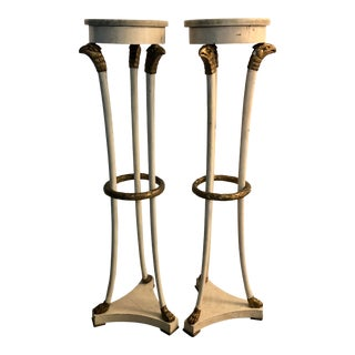 Italian Painted Wood Plant Stands With Marble Top - a Pair For Sale