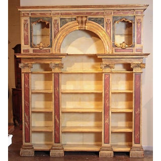 Early 19th Century Italian Neoclassical Faux Marble Painted Wood Open Bookcase Preview