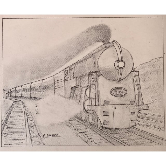 1940s Vintage Art Deco Steam Locomotive NY Drawing For Sale - Image 5 of 5